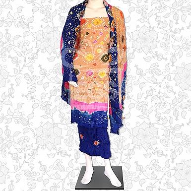 Skin Pink and Blue Linen Chunri Dress-Unstitched
