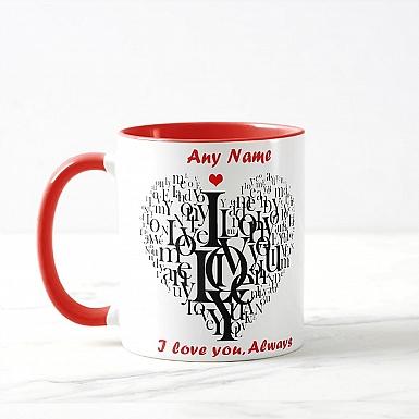 Typographic Heart-Personalised Mug