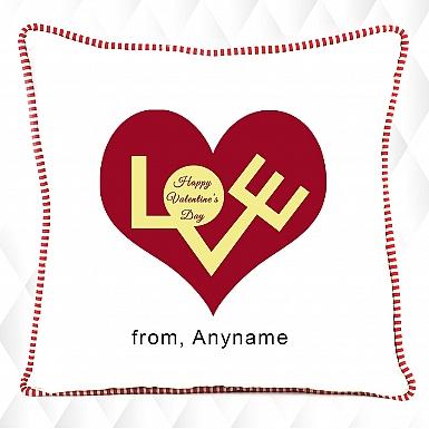 Typographical Happy Valentines Cushion