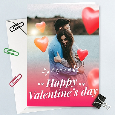Valentinesday Heart Balloons  Personalised Photo Card