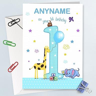 Baby Boy First Birthday Card