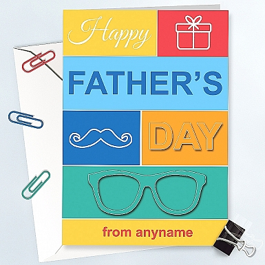 Father's Day -Colorful Personalised Card