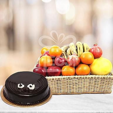 Fresh Seasonal Fruits + 2LB Luxury Cake