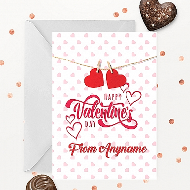 Hanging Hearts Valentine's day Card