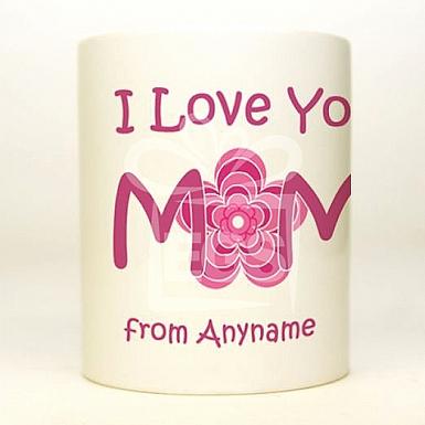I Love Mom Flower Design - Personalised Mug