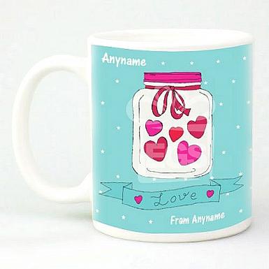 Love Hearts in Jar - Personalised Mug