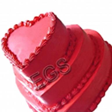 12Lbs 3 Tier Red Heart Shaped Cake - Redolence Bake Studio