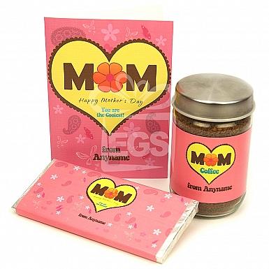 Coolest Mom Card + Chocolate + Coffee Jar