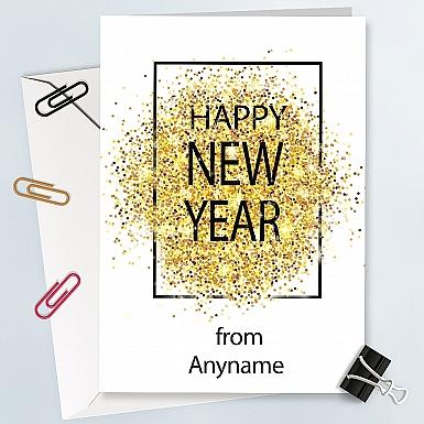 New Year Gold Glitter Card