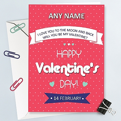 Retro-Valentines day Personalised Card