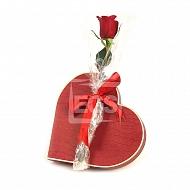 Single Rose with Chocolate Box