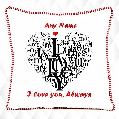 Typographic Heart-Personalised Cushion
