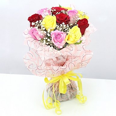12 Imported Three Color Roses