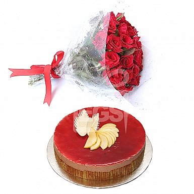 Flowers with 2Lbs Cake - Serena Hotel
