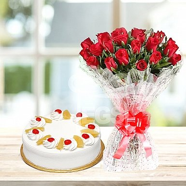 24 Red Roses with 2Lbs Cake - Islamabad Hotel