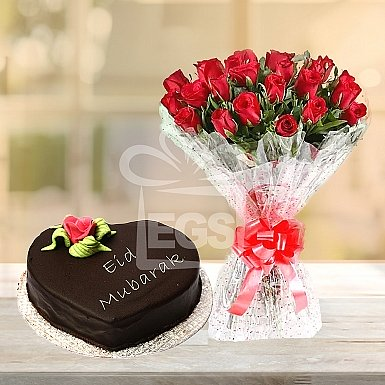24 Red Roses with 2Lbs Eid Day Cake - Marriott Hotel
