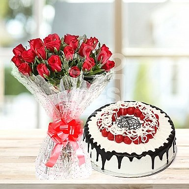 24 Red Roses with 4Lbs Cake - Avari Hotel
