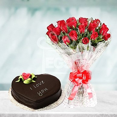 24 Red Roses with Heart Shape Cake - PC Hotel