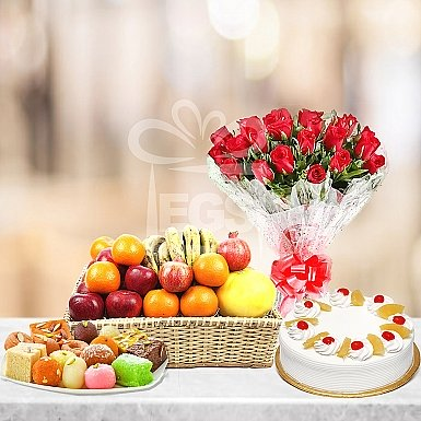 24 Red Roses 2Lb Cake 2KG Mithai and Fruit