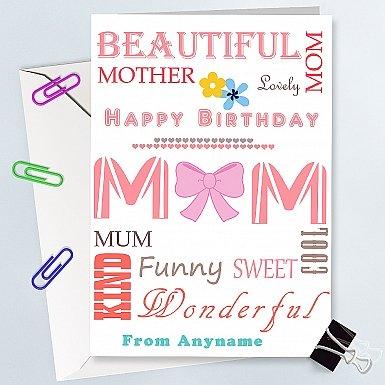 Happy Birthday Mum - Personalised Card