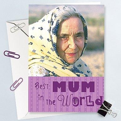 Worlds Best Mum Photo Card - Personalised Card