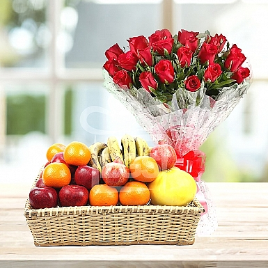Bunch Of Red Roses and Fruit Basket