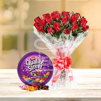 Bunch of 24 Red Roses and Quality Street Chocolate 240grams