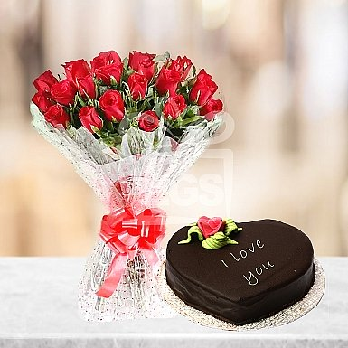 Chocolate heart and flowers