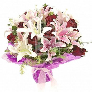 Red Roses and Lily Bouquet