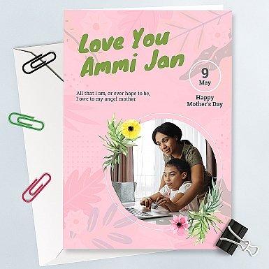 Love You Ammi Jan Personalised Photo Card