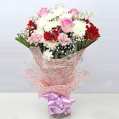 Pink Roses And Gerberas