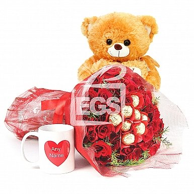 Red Roses with Cuddling Sentiments