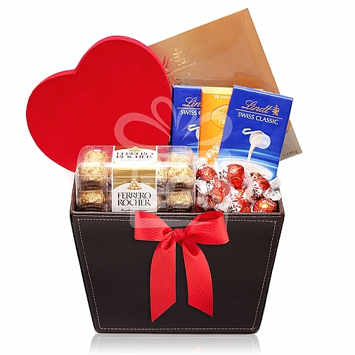 The Chocolate Lovers Leather Basket Hamper