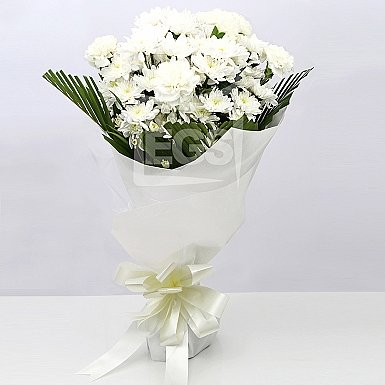 White Chrysanthemums and Carnations Bouquet