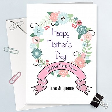 World's best Mum-Personalized floral Card