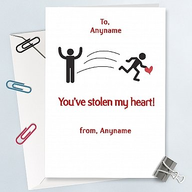 You have stolen My heart-Personalised card