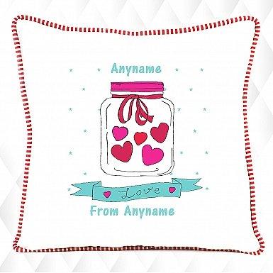 Hearts in Jar - Personalised Cushion
