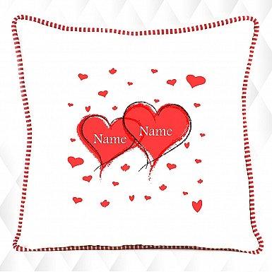 Hearts Named-Personalised Cushion