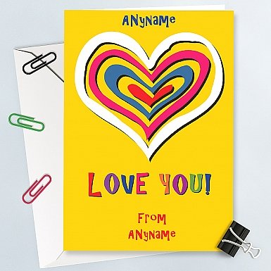 Love You-Hearts Personalised Card