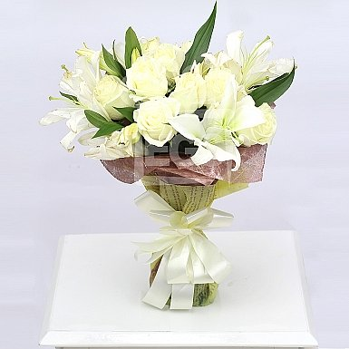 White Lily and White Roses